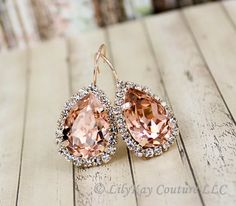 $24  Genuine Swarovski Crystal Blush Pear Drop Earrings - ***Stone color in photo above is Vintage Rose WITH ROSE GOLD SETTINGS