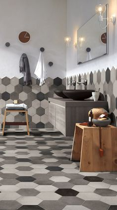 The Best Bathroom Tile Ideas and Design for 2018 - This contemporary bathroom uses a minimalist shade scheme with white walls as well as tones of dark gray porcelain wall surface and also flooring ceramic tiles. Bathroom Interior Design, Home Interior, Interior Design Living Room, Hexagon Tile Bathroom, Hexagon Tiles, Bathroom Trends, Bathroom Ideas, Bathroom Wall, Small Bathroom