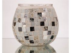 White and Black Mosaic Rolly Polly Votive