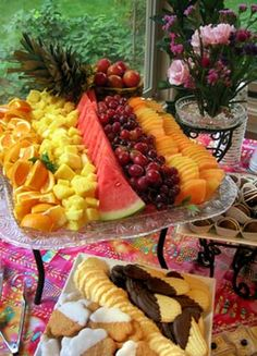 dessert reception fruit tray... on glass serving dish