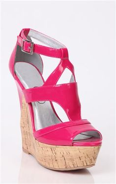 Deb Shops #pink open toe patent cork #wedge