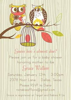 PRINTABLE Fancy Owls Baby Egg Bird cage Baby Shower Invitation