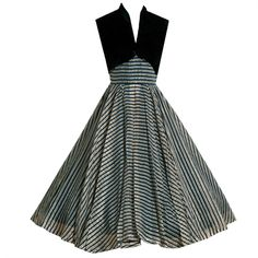 1950's Claudia Young Velvet & Metallic Stripe Organza Shelf-Bust Party Dress
