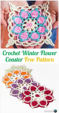 Crochet Winter Flower Coasters Free Pattern - Crochet Coasters Free Patterns