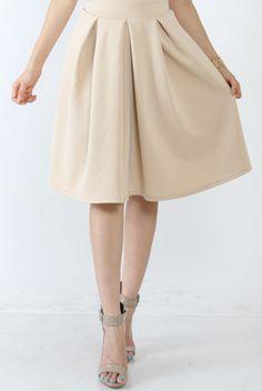 Pleated Gathered Beige Midi Skirt