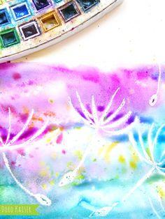 Malen mit Kindern: wunderbare Pusteblumen mit Wasserfarben malen   www.dorokaiser.online.de