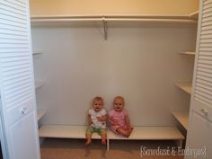 DIY Custom Closet Shelving Tutorial add shelves to the sides of the closets. Leave space under last shelves for rolling carts… Laundry, a low zipper bag for bedding (look for that/make that) Shared Closet, Kid Closet, Closet Bedroom, Closet Ideas, Hall Closet, Closet Space, Diy Closet Shelves, Closet Storage, Closet Organization