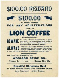 Old Design Shop ~ free printable vintage Christmas Lion coffee advertising card Vintage Labels, Vintage Postcards, Vintage Ads, Vintage Images, Printable Vintage, Lion Coffee, Coffee Love, Coffee Bars, Image Lion