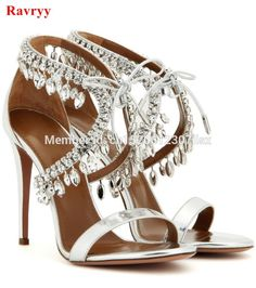 6a56e68f4 Sexy rhinestones Women Sandals Summer Lace Up Crystal Women Sandals High  Heels Thin Heels Weeding Women