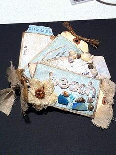 toilet paper roll album | beach mini album made out of toilet paper rolls | Paper Crafts