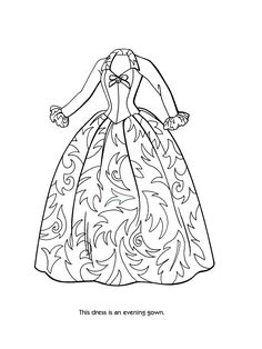 Ball gown coloring page for girls printable free Coloring Pages