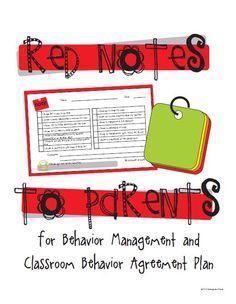 Publishers :: KindergartenWorks :: Red Notes to Parents for Behavior Management and Classroom Behavior Agreement Plan