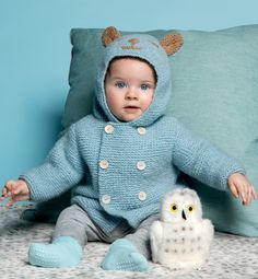 knit baby jacket with bear shaped hood - Modèle paletot à capuche layette - Modèles Layette - Phildar