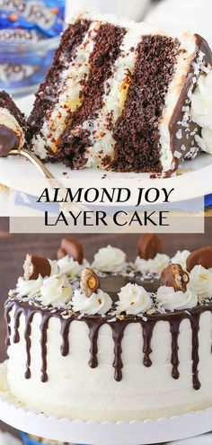 This Almond Joy Layer Cake is made with layers of moist chocolate cake, a delicious flakey coconut filling, almond slivers, coconut frosting and chocolate ganache! It's the perfect cake for any celebration! Coconut Recipes, Baking Recipes, Dessert Recipes, Recipe For Coconut Cake, Cake Filling Recipes, Coconut Desserts, Best Cake Recipes, Almond Joy Cake, Almond Cakes