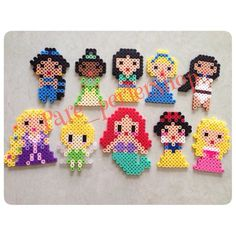 Disney prensesleri hamadan disney princes with hama Perler Bead Designs, Hama Beads Design, Diy Perler Beads, Pearler Beads, Fuse Bead Patterns, Perler Patterns, Beading Patterns, Diy With Kids, Pony Bead Crafts