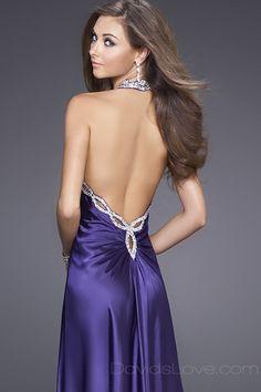 A-Line Halter Long Satin Dress