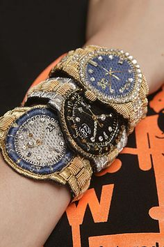 "Beaded, embroidered ""watches"" by Belgian designer Walter Van Beirendonck"