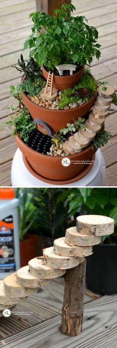 DIY Flower Pot Miniature Fairy Garden. #miniaturefairygardens