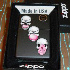 Zippo 29398 Skull Bubble Gum Black Matte 2017 Release NEW Windproof Lighter