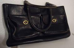 Vtg Black Leather Coach PRE Creed Cashin Twist Locks Purse Striped Lining AS IS #Coach #TotesShoppers #Casual