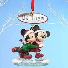 Mickey and Minnie Mouse Sketchbook Ornament - My Christmas - Personalizable Mickey Mouse Christmas Tree, Disney Christmas, 1st Christmas, Christmas Holidays, Disney Ornaments, Christmas Ornaments, Different Holidays, Disney Merchandise, Cold Porcelain