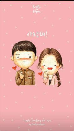 Crash Landing of You Korea Drama Chibi Wallpaper, Wallpaper Iphone Cute, Goblin Korean Drama, Cute Couple Art, Sweet Couple, Kawaii Illustration, Chibi Couple, Fanart, Hyun Bin
