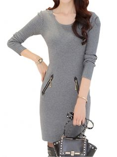 Alluring O-Neck Long Sleeve Zipper Decorated Slim Pure Color Knitted Bodycon Dress Three Color
