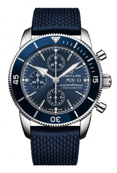 Discover the Breitling Superocean Heritage Chronograph 44 in a combination of Steel, Blue and Blue Rubber Aero Classic. Find out more online. Breitling Superocean Heritage, Breitling Navitimer, Breitling Chronograph, Breitling Watches, Omega Seamaster, Mode Masculine, Seiko, Cool Watches, Watches For Men