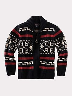Pendleton The Original Westerley - Black & Cream. We have researched the archives and studied the movie to capture the coloration as best we can for our newest version, known as The Original Westerley. Mens Fashion Sweaters, Mens Boots Fashion, Best Mens Fashion, Blazer Fashion, Fashion Shirts, Pendleton Shirts, Sweater Cardigan, Men Sweater, Leather Jackets