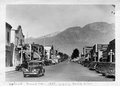2nd Ave looking north, 1938, Downtown Upland, California, #dtupland