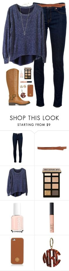"""""""not so cold winter day"""" by classically-preppy ❤ liked on Polyvore featuring J Brand, Ganni, Bobbi Brown Cosmetics, Essie, NARS Cosmetics, Kate Spade, Tory Burch and Kendra Scott"""