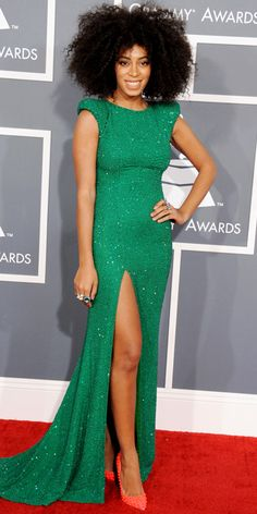 Solange Knowles @ the Grammy Awards 2013 in an emerald green cap-sleeve dress. This girl is on FAYA!!!