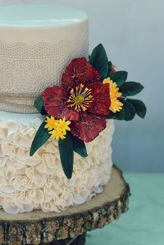 Wedding cake with ruffles, sugar lace and rustic sugar flowers. Wedding Desserts, Wedding Cakes, Sugar Lace, Cake Shop, Sugar Flowers, Custom Cakes, Ruffles, Rustic, Cookies