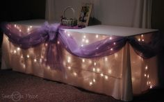 This is such a cute idea it is lights behind a curtain or table cloth cute idea for a table