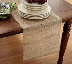 "Melaya Woven Nubby Design Rectangular Table Runner, Ramie, 14""X90"", Natural"