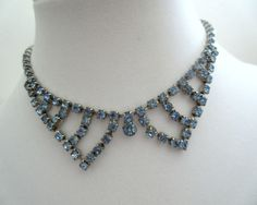 light blue rhinestone choker necklace, bib, collar, crystal necklace, prom, wedding bridal, teens, vintage by DancewithJewels on Etsy
