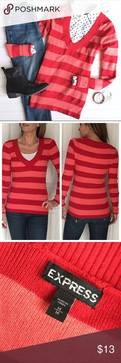 "Express Candy Stripe Sweater Express Candy Stripe Sweater | size M; cotton/rayon/nylon/other . Red & pink v-neck sweater with longer length & lots of stretch! | ribbed trim at neck, cuffs & hem | interior tag has been marked through | a bright & bold top for winter! | hand wash cold . EUC . 18"" UA to UA (stretches to 20"") 27"" sleeve 27"" length Express Sweaters V-Necks"