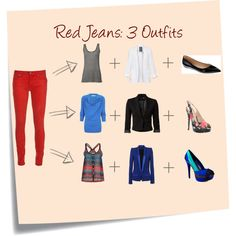 Red Jeans: 3 Outfits, created by appareltherapy on Polyvore