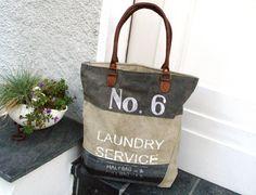 Canvastaschen - Vintage-Shopper Canvas-Tasche Segeltuch Leder - ein Designerstück von Ariadne-K bei DaWanda