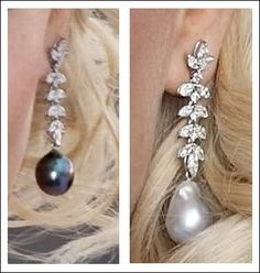 Princess Mette-Marit earrings: diamond and black and white pearl