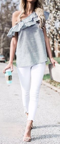 #summer #outfits  Striped Ruffle One Shoulder Top   White Skinny Jeans