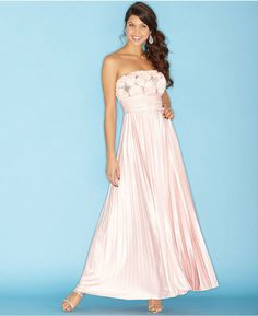 Prom Dress of the Day: Strapless Sequin Rosette Pleated Gown - http://prombelles.com/2014/02/10/prom-dress-day-strapless-sequin-rosette-pleated-gown/