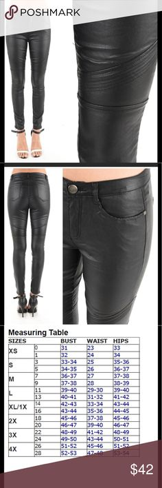 Coming soon! Faux leather skinny moto pants Reserve now! Limited amount and I will be keeping a pair! New black faux leather moto pants. I am so excited to try these! These are great throughout the spring. Wear with flats heels or booties. Would look great with the faux fur poncho I have listed. Contrasting textures is the key to rocking these. 74% viscose 23% polyamide 3% spandex. Pants Skinny