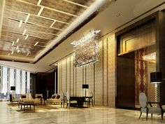 The gorgeous lobby in the new Ritz-Carlton Hong Kong hotel. We hear the elevator can zip you from the floor to the lobby in 52 house design design Lobby Interior, Interior Architecture, Commercial Design, Commercial Interiors, Banquet, Public Hotel, Hotel Lounge, Lobby Lounge, Hotel Interiors