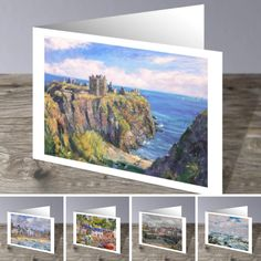 Set of 5 colourful coastal seascape cards painted by Howard Butterworth. These high quality cards have been left blank inside for your own personal greetings. Comes with a white envelope in a clear cellophane bag. Approximate size (12.3 cm x 17.7 cm) #Scottish #FineArt #DunnottarCastle #castle #portsoy #Plockton #stonehaven #sea #seascape #art #Greeting #Cards #Aberdeenshire #scotland Aberdeenshire Scotland, Butterworth, Seascape Art, White Envelopes, Online Art Gallery, Coastal, Size 12, Greeting Cards, Fine Art
