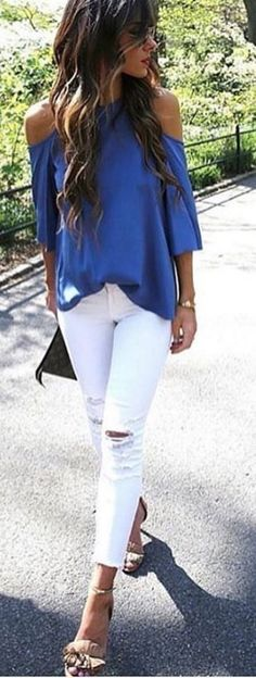 Love everything about this! (Would probably be more of a fall outfit for me...)Those jeans are awesome, the top is gorgeous and those shoes !