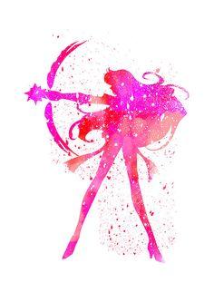 Sailor Mars Sailor Moon fan Art Watercolor by WatercolorDsgn