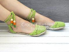 Crochet pattern-ring sandals with rope solessoles pattern Crochet Shoes Pattern, Shoe Pattern, Crochet Patterns, Crochet Sandals, Crochet Slippers, Beautiful Sandals, Slipper Sandals, Loafers For Women, Women Sandals
