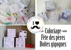 Fête des pères coloriage boîtes gogognes à imprimer