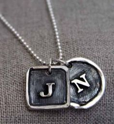 A handmade rustic initial necklace with your choice of shape and letter. Each fine silver pendant is made from scratch and will be unique in it's own way. | Made on Hatch.co